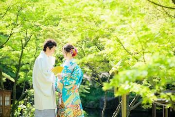 キレイな新緑とブルーの色打掛を来た新婦と白の紋付姿の新郎
