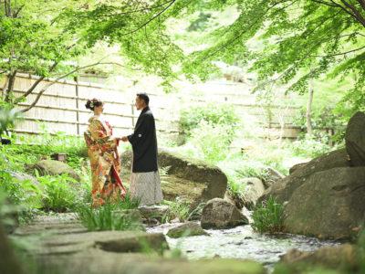 緑豊かな徳川園でロケーション前撮り
